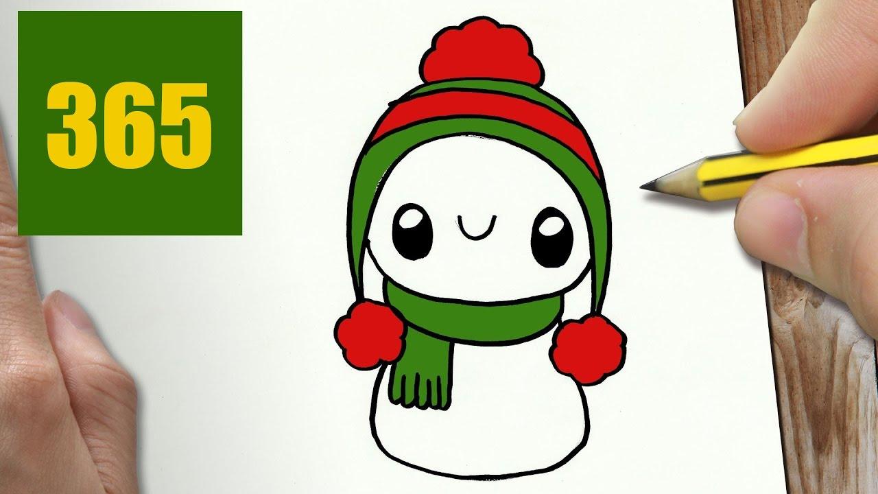 Comment dessiner bonhomme de neige kawaii tape par tape - Comment dessiner un flocon de neige facile ...