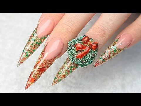 CHRISTMAS WREATH ACRYLIC STILETTO NAIL TUTORIAL thumbnail