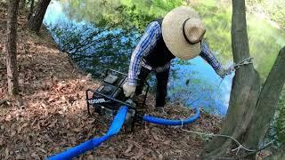 양수기로 3톤 물탱크 물받기