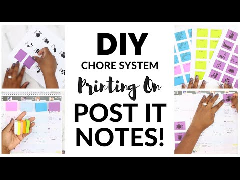 DIY CHORE SYSTEM! Printing on Sticky Notes + Template | Family Command Center | At Home With Quita