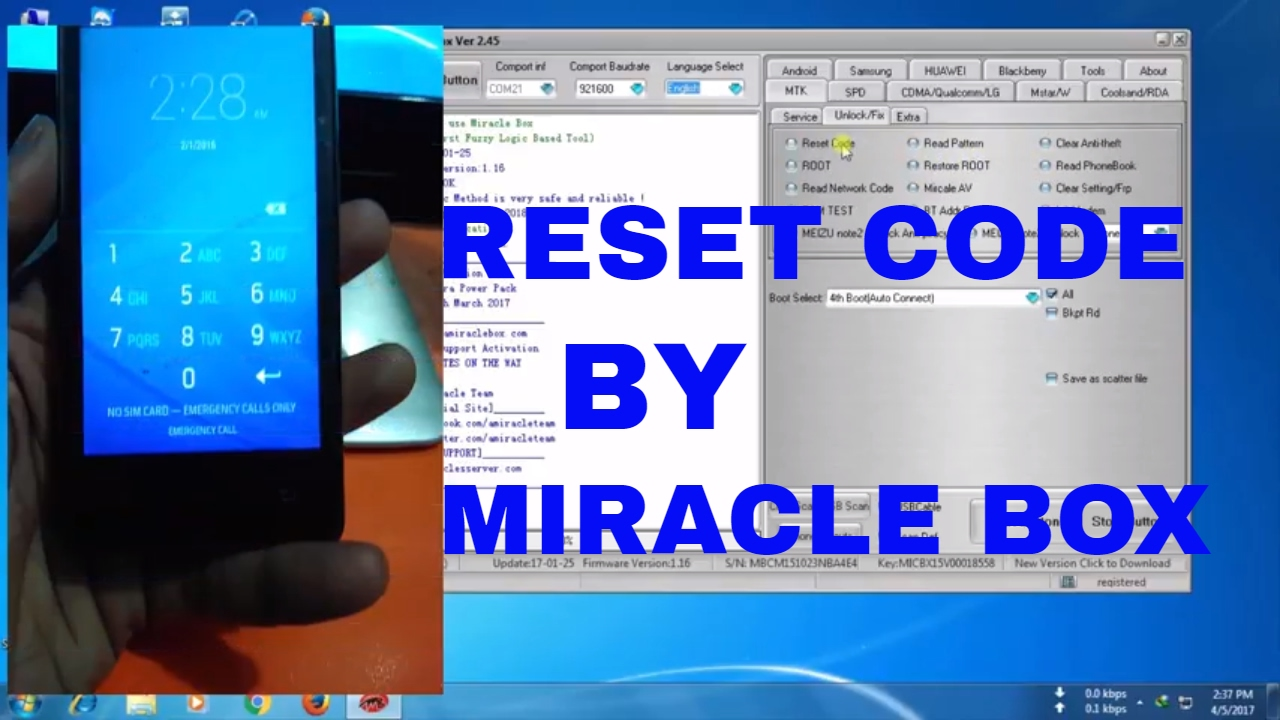 RESET CODE BY MIRACLE BOX