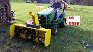 John Deere 1025R quick hitch snowblower installation attaching how to , 54