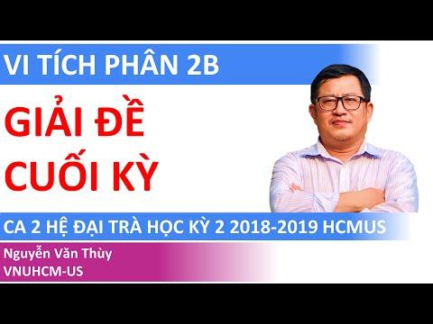 GIẢI ĐỀ CUỐI KỲ VI TÍCH PHÂN 2B 2018-2019 | CA 02