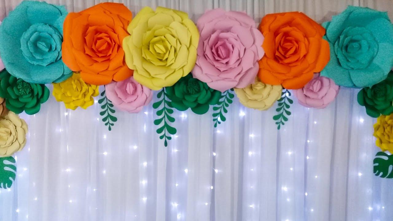 Como Fazer Painel de Flores Gigante de Papel Montar Painel Com Flores de Papel Cortinário e Led  -> Decoração De Flores De Papel Para Aniversario