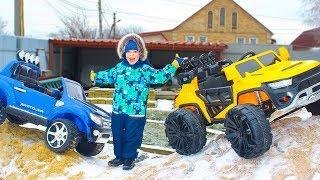 Tema drives Toy Car ride on Big Power Wheels