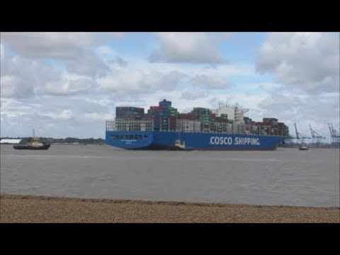 Maiden voyage Cosco Shipping Himalayas arrives to a gusty Felixstowe with 3  Svitzer tugs  11 09 2017