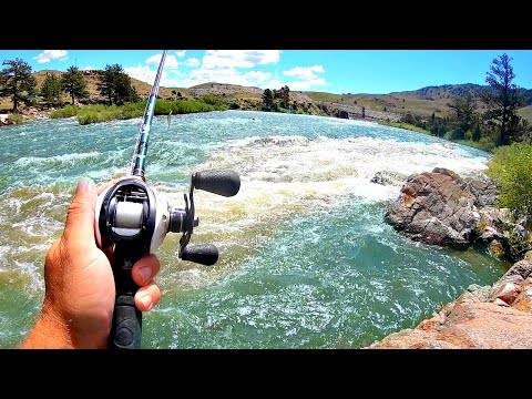 Bank Fishing A RAGING River For GIANT Fish!!!