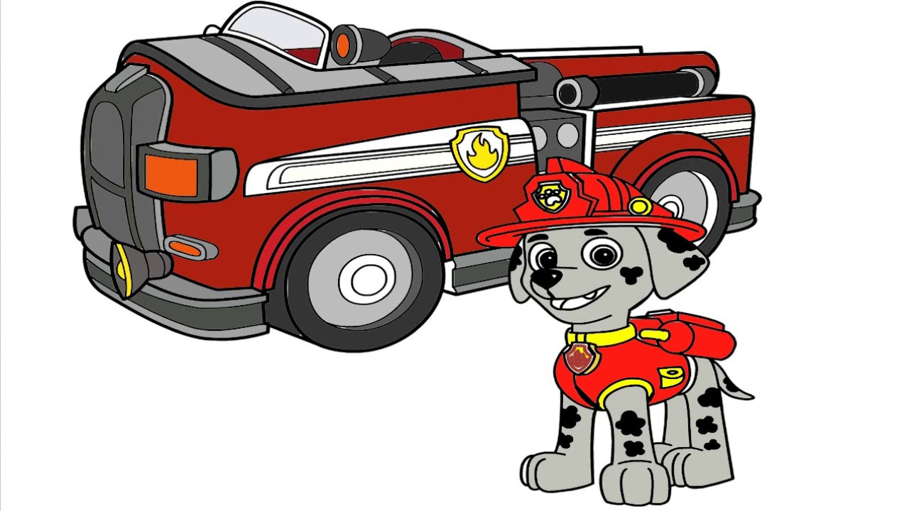 Coloring Paw Patrol Marshall Fire Truck Coloring Pages