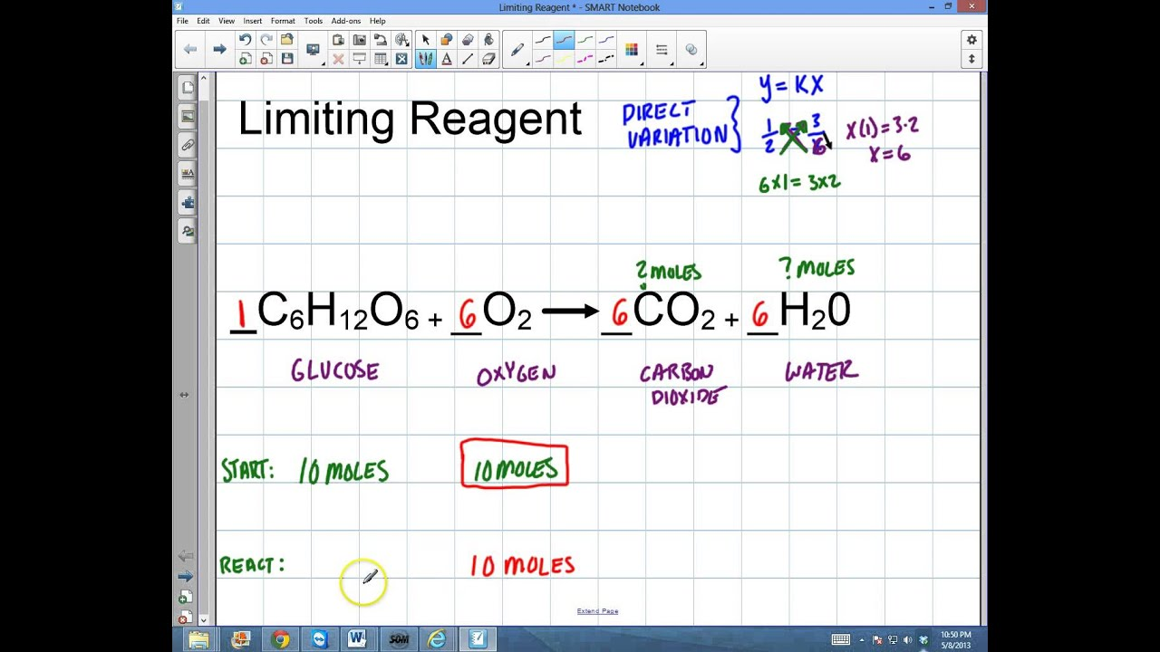 Chemistry FAST Stoichiometry of Limiting Reagent and Mole Ratios – Limiting Reagents Worksheet