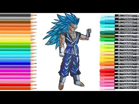 DIBUJO DE GOKU  SSJ 3 DIOS AZUL/GOD BLUE/DRAGON BALL SUPER/BOLA DRAGÓN/HOW TO DRAW DRAGON BALL