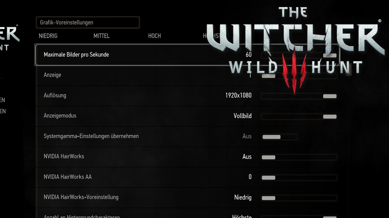 The Witcher 3 - Grafikeinstellungen - YouTube