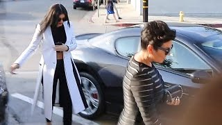 PREMIUM EXCLUSIVE - Kris And Kylie Jenner Get Lunch, Upset When Asked About Firing Scott Disick