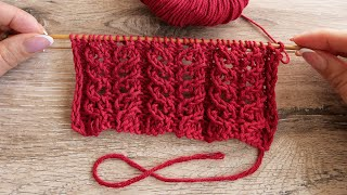 Кружевной узор спицами | Eyelet knitting pattern