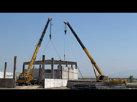 Краткий обзор двух автокранов XCMG 65,25 тонн . Монтаж железо бетонных ферм