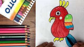 Dạy bé tập vẽ và tô màu con vẹt