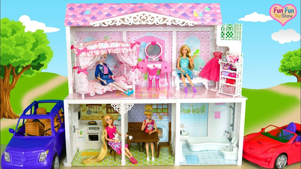 Two-story Japanese-style Doll house for Barbie dolls Unboxing Rumah boneka Barbie  Casa de boneca