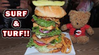 Crabby Joe's Surf N Turf Burger Challenge!! (From Man vs Food)