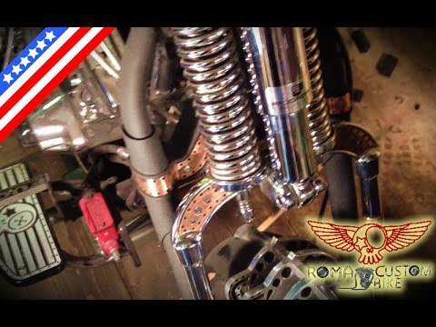 How to assemble Harley Davidson springer fork DIY Home garage tutorial - ep3p2 Roma Custom Bike