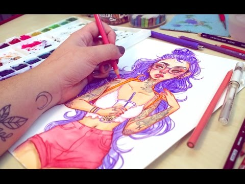 summer-girl-process-with-watercolor-and-colored-pencils
