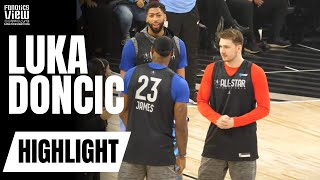 Luka Doncic Meets Team LeBron & Is Greeted by LeBron James at NBA All-Star Practice