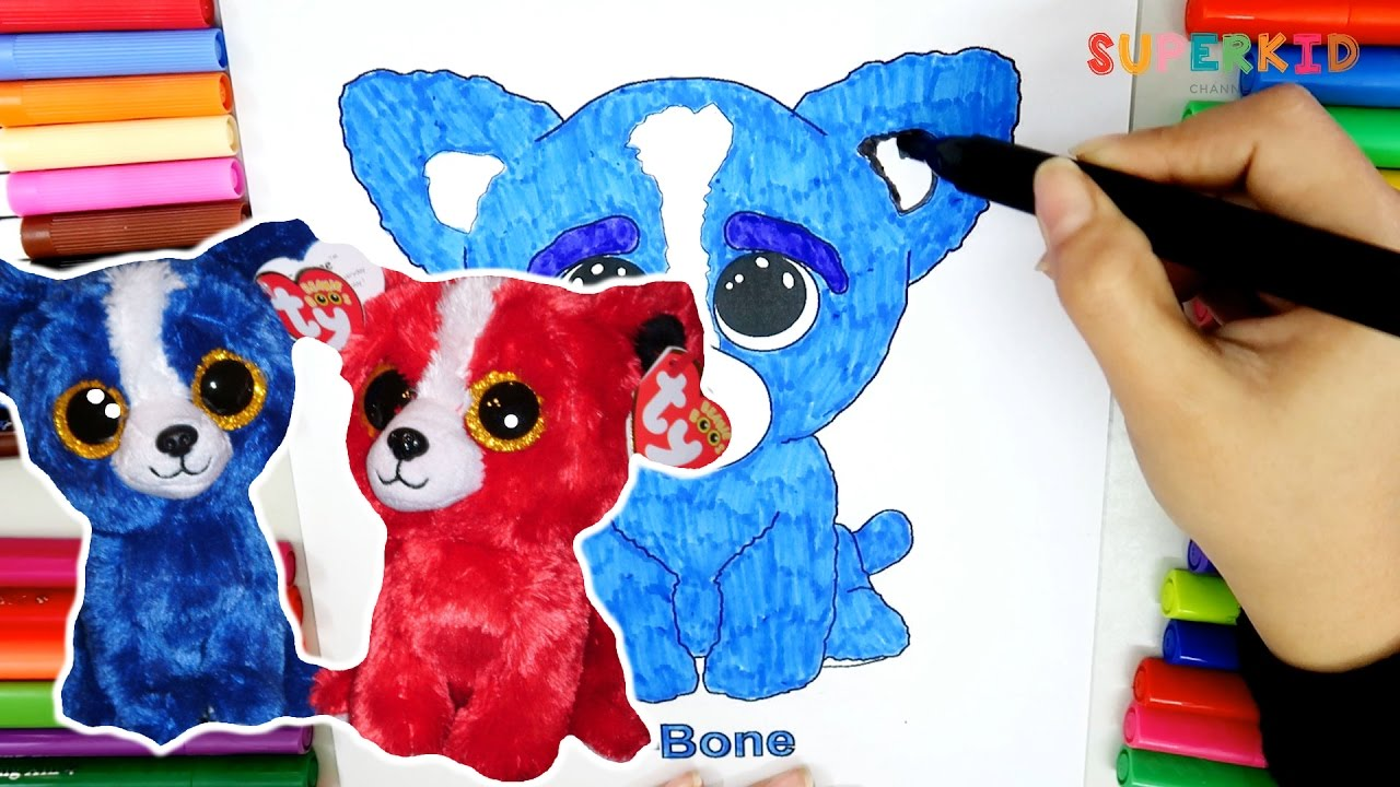 ty beanie boos t bone coloring page for kid learning how to