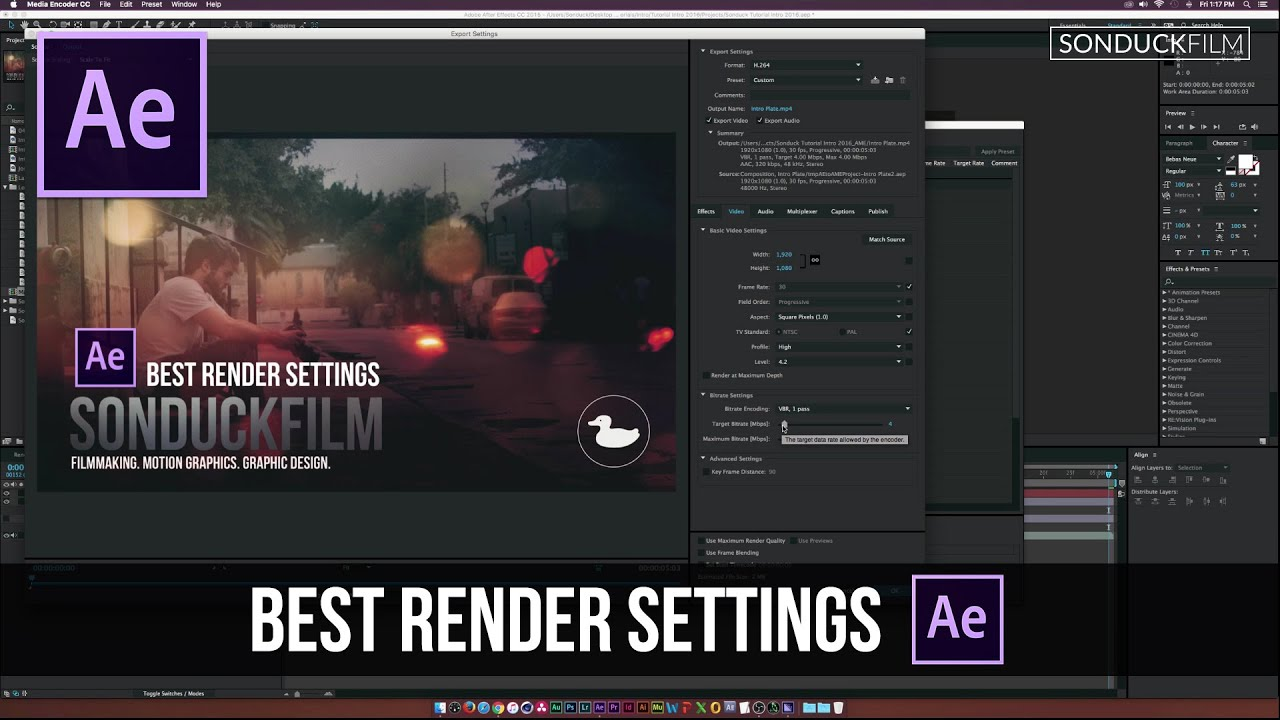 What are the best settings in After Effects to render to ...
