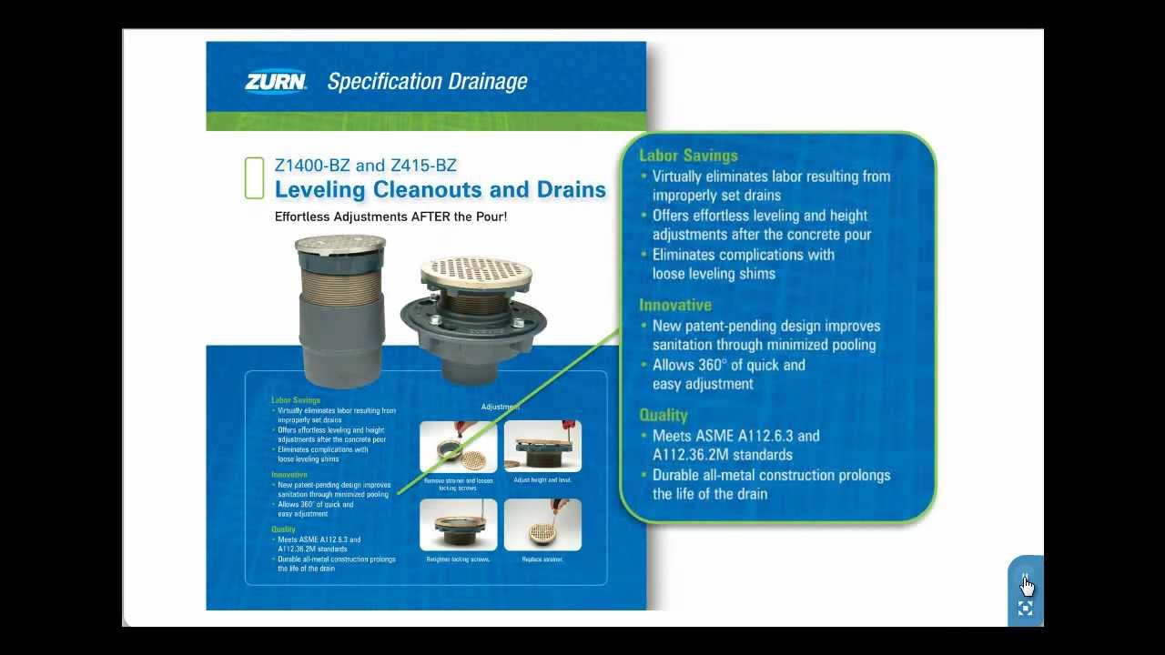 Zurn Floor Drains and Cleanouts Z1400BZ and Z415BZ  Fast