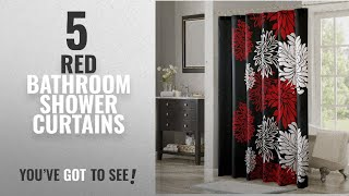 Top 10 Red Bathroom Shower Curtains [2018]: Comfort Spaces – Enya Shower Curtain – Black,Red –