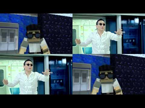 Side by side comparison of PSY Gangnam Style and Minecraft Style