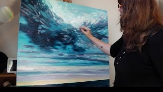Gill Bustamante Painting Large Seascape Oils Canvas