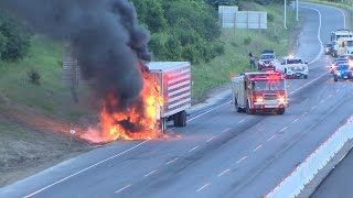 Tractor-trailer fire snarls traffic on Hwy 427 Monday morning