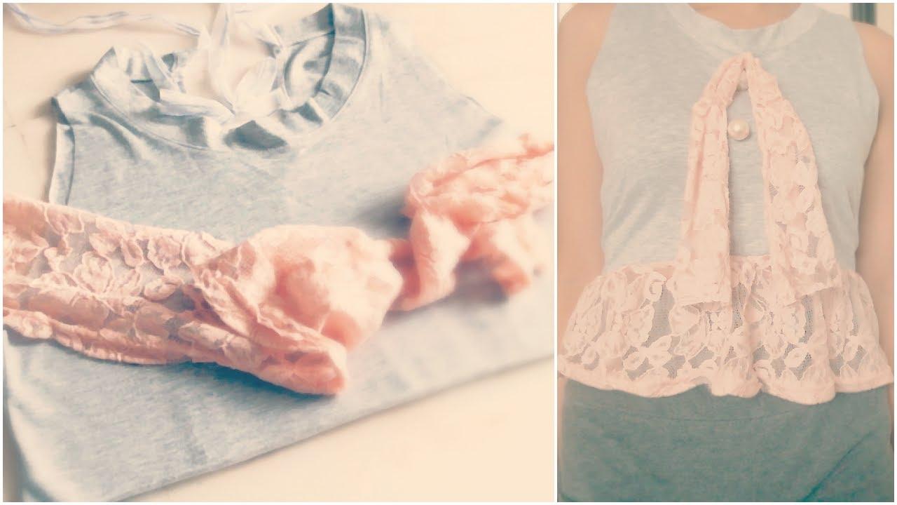 Shirt design with laces - Diy Romantic Lace T Shirt Fashion Tutorial
