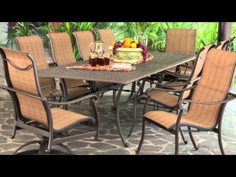 Saratoga 11-piece Sling Patio Dining Collection