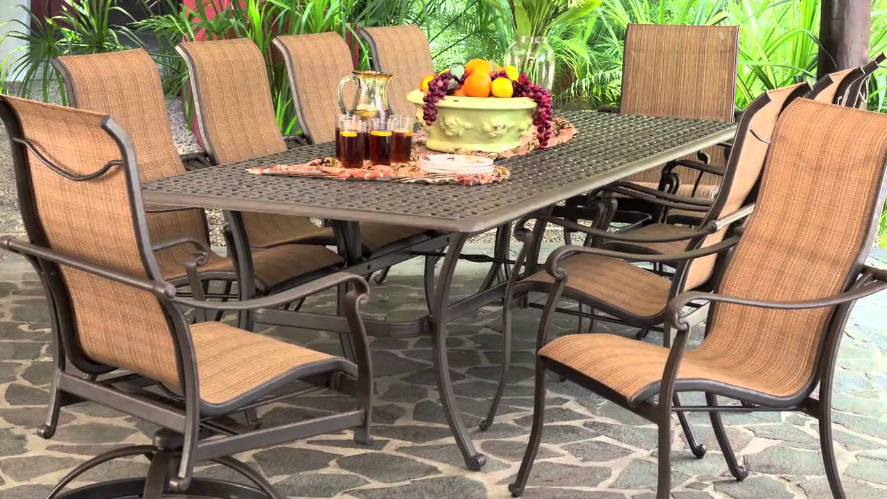 Saratoga 11 piece Sling Patio Dining Collection YouTube