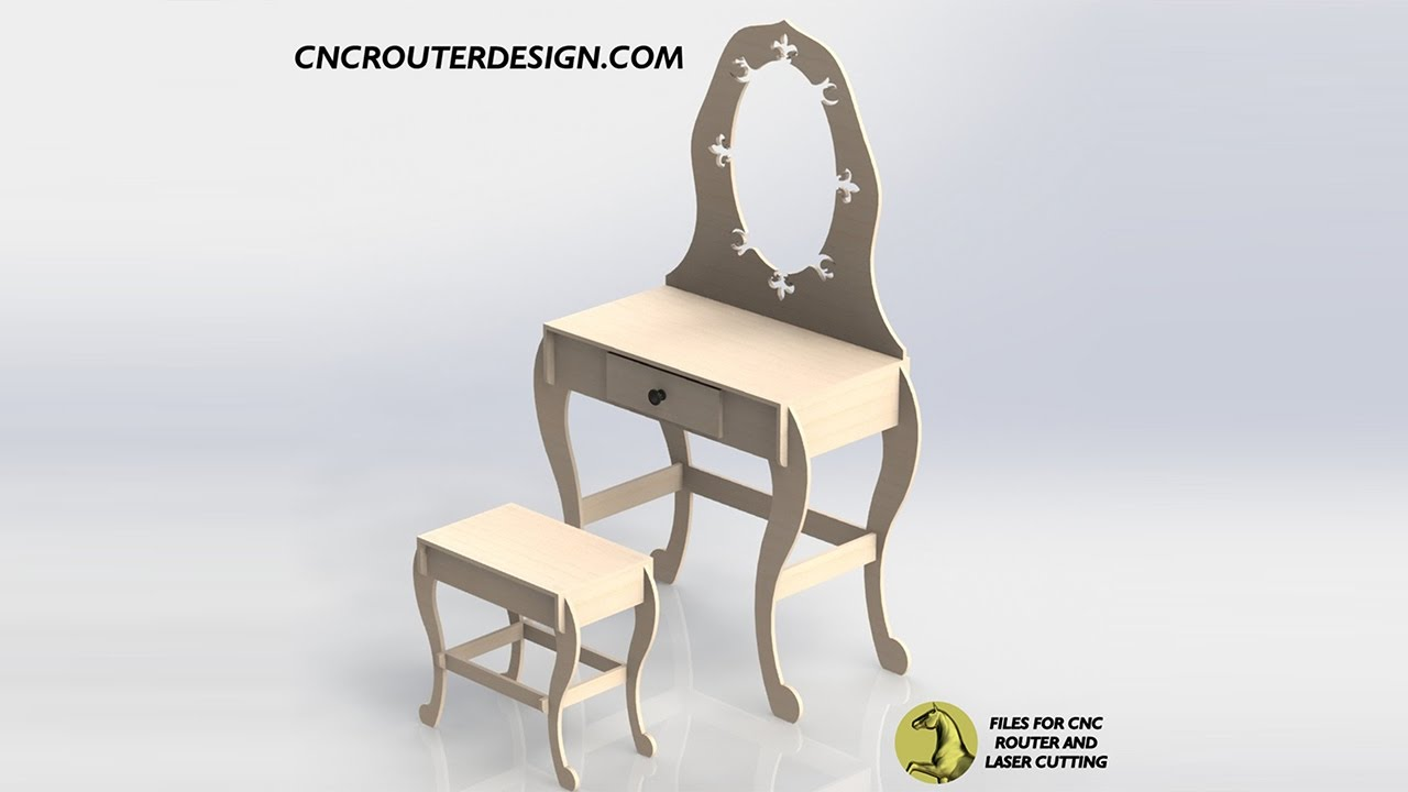 Dressing Table Design DXF File CNC or Laser Cutting ArtCAM Vectric VCarve  055