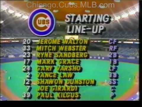 HARRY CARAY 1988 Cubs vs Expos player line-up