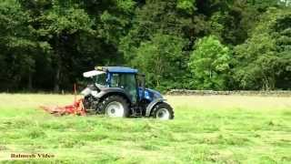 Silaging in the Dales - Valtra Tedding.
