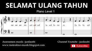 not balok selamat ulang tahun - tutorial piano grade 1 - notasi lagu anak indonesia