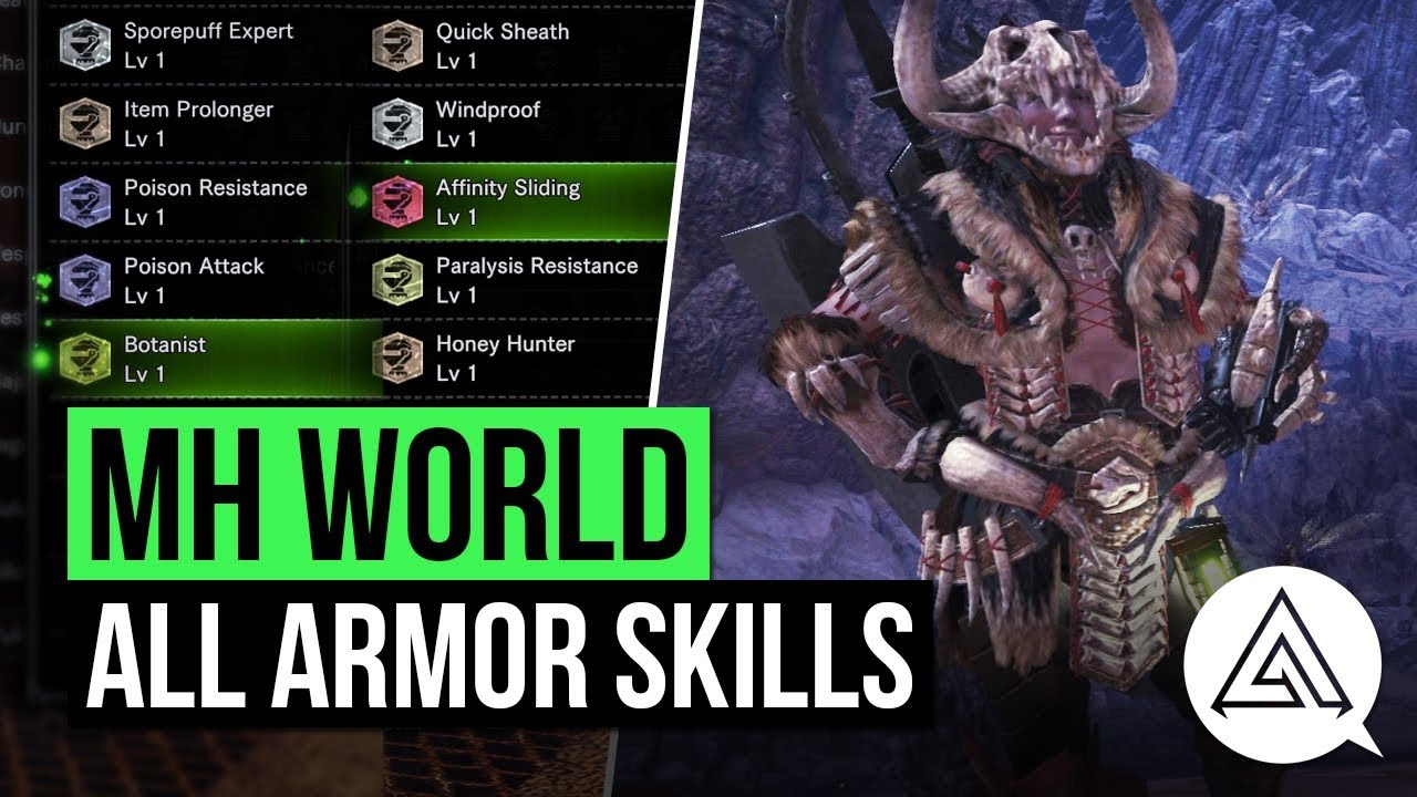 Monster Hunter World All Armor Skills So Far Armor Skill List