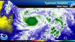 Typhoon Dolphin Nears Guam / Rota, Typhoon Warnings in Place