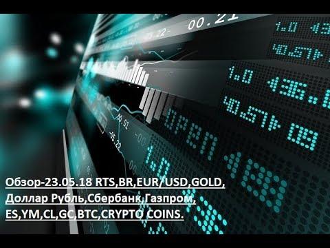 Обзор-23.05.18 RTS,BR,EUR/USD,GOLD, Доллар Рубль,Сбербанк,Газпром,ES,YM,CL,GC,BTC,CRYPTO COINS