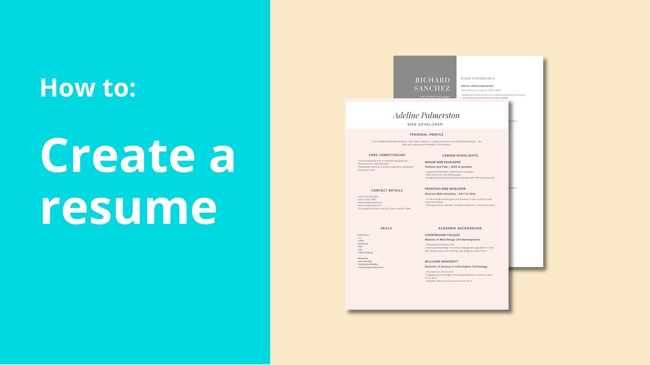 how to create a resume with canva