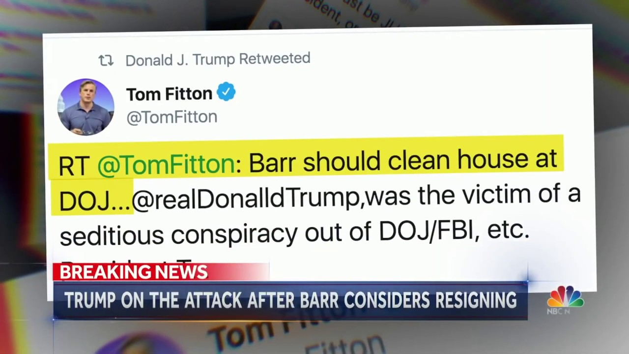 "Tom Fitton Featured on NBC: ""AG Barr Should Clean House at DOJ--Trump a Crime Victim!"""