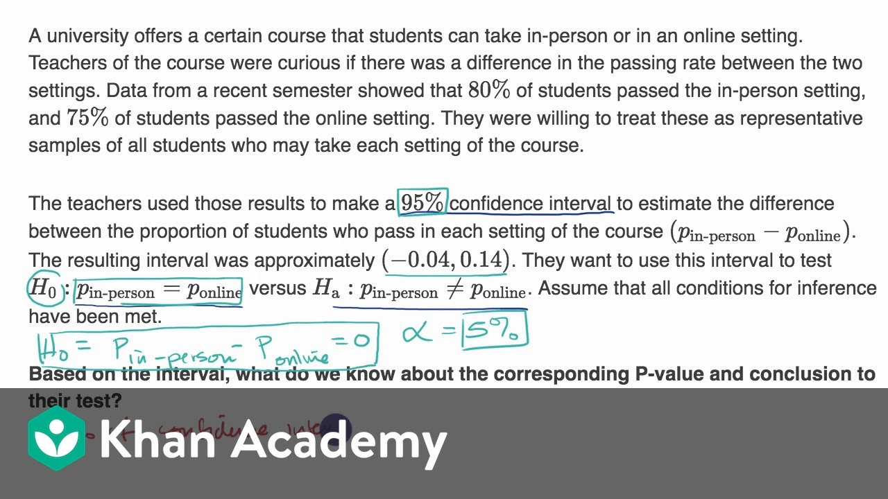 Confidence Interval For Hypothesis Test For Difference In Proportions Video Khan Academy [ 720 x 1280 Pixel ]