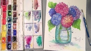 watercolor hydrangea tutorial