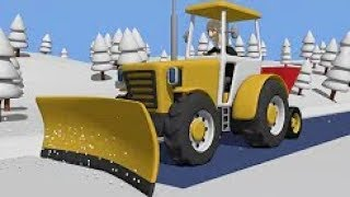 Yellow Tractor And Snow Story | Tractor For Children - To Save The Car