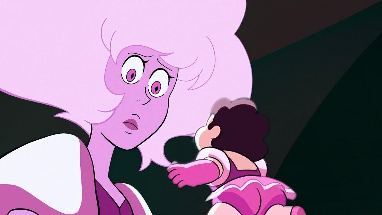 steven-talks-to-rose-quartz-pink-diamond-steven-universe-diamond-days-theory-crystal-clear