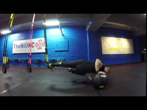 TRX Freestyle Friday   TRX Crossing Single Leg Pushup with TRX Med Ball