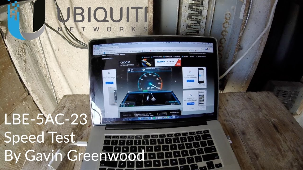 Ubiquiti Litebeam Ac Lbe 5ac 23 Ptp Speed Test Youtube M5 23dbi