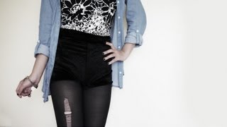 DIY ✂ Velvet High Waisted Hot Pants / Shorts